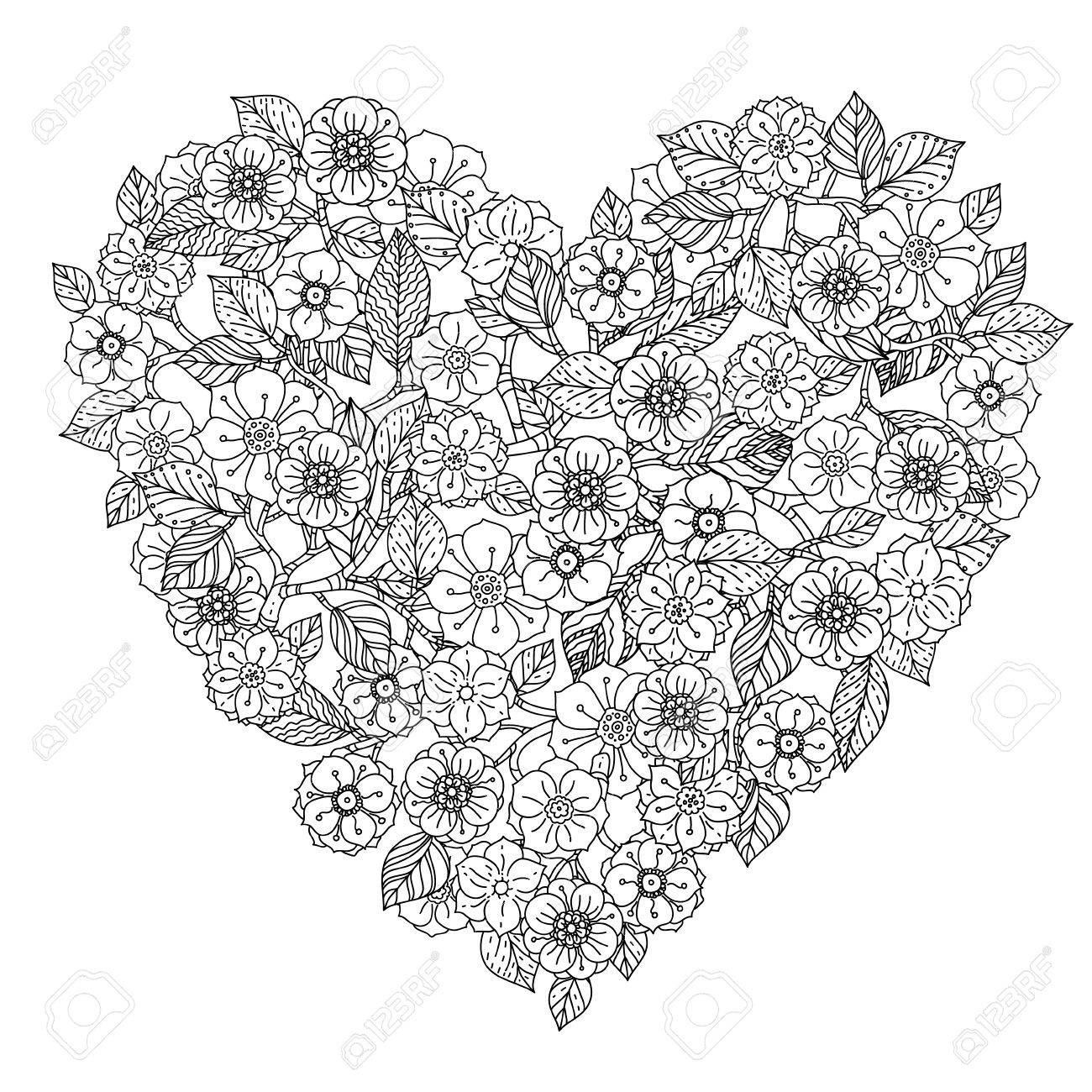 Main élément De Dessin Noir Et Blanc Fleur Style Mandala