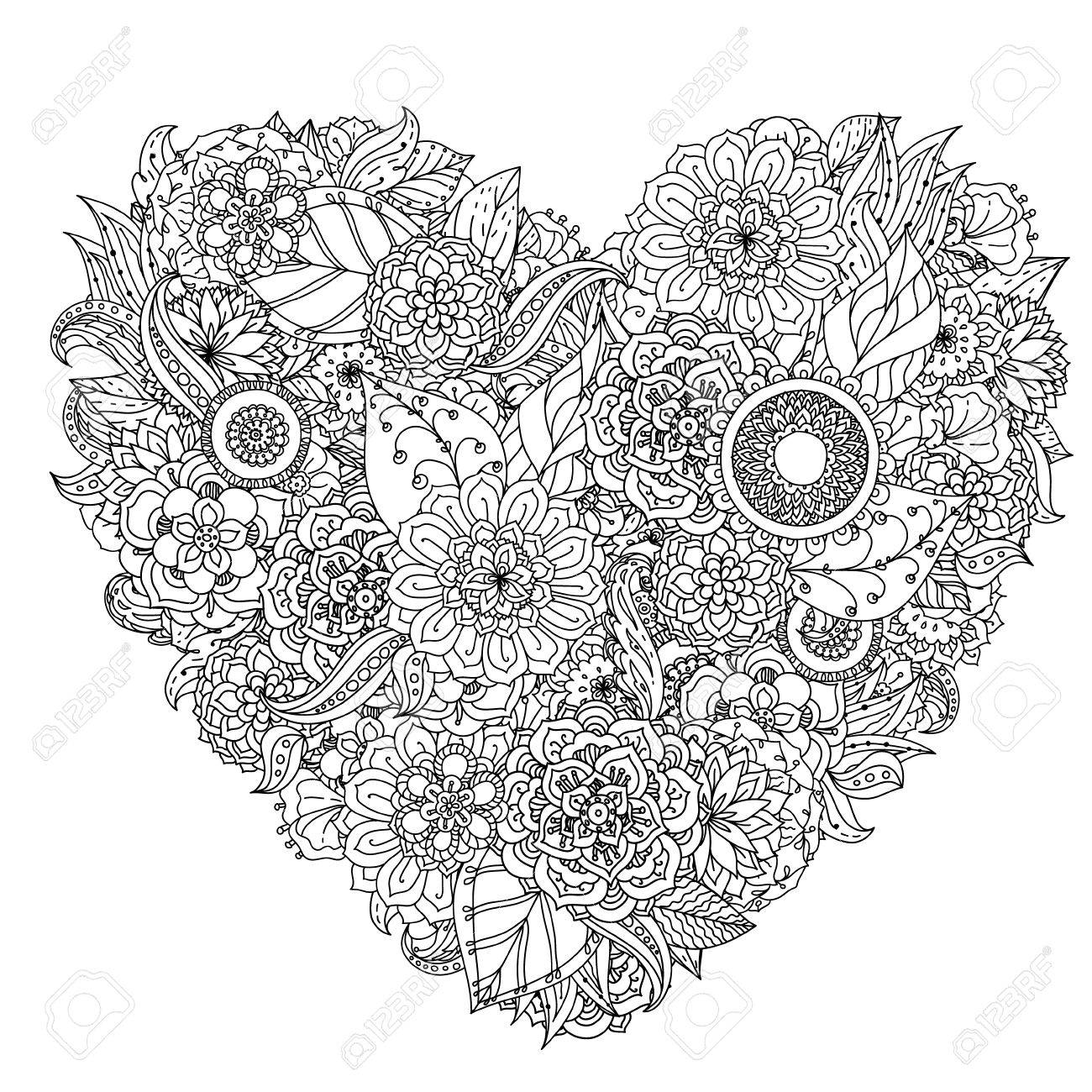 Hand Drawing Element Black And White Flower Mandala Style Royalty