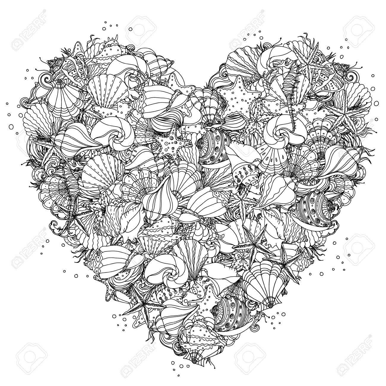 heart shape black and white ornament of seashells starfish