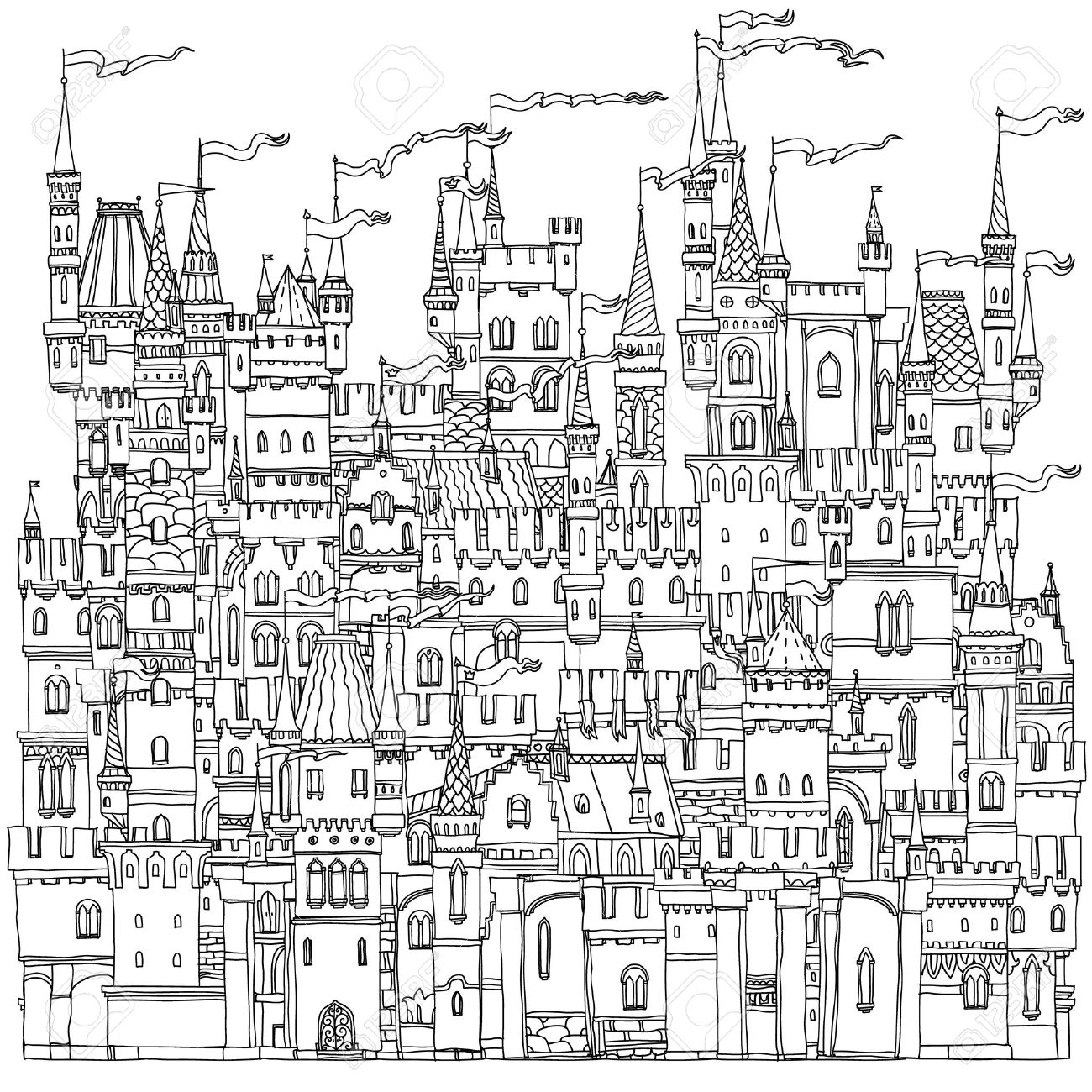 Decorative ornamental castle from a fairy tale. Vector illustration. The best for your design, textiles, posters, coloring book - 49256816