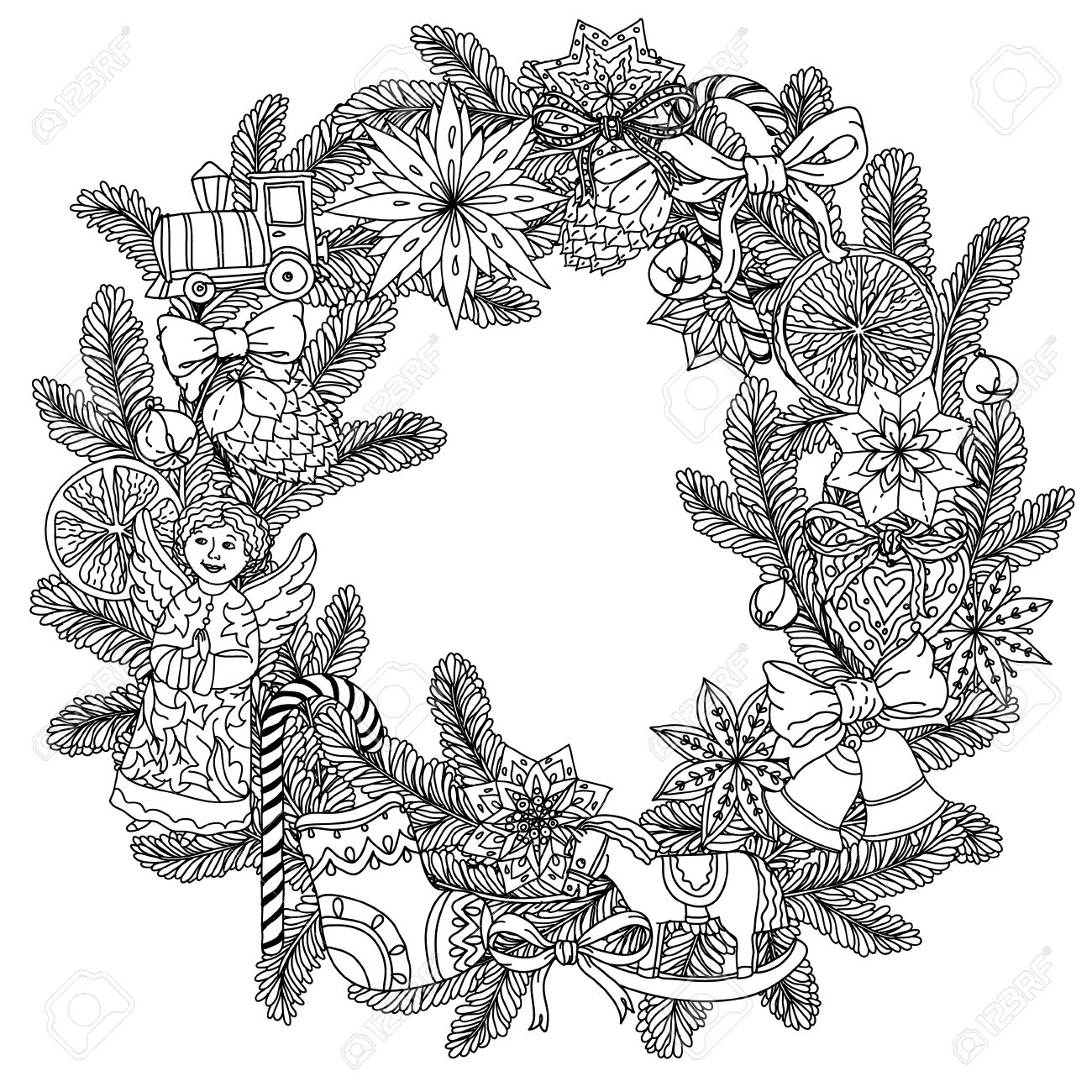 Christmas Wreath With Decorative Items Black And White The Best For Your Design
