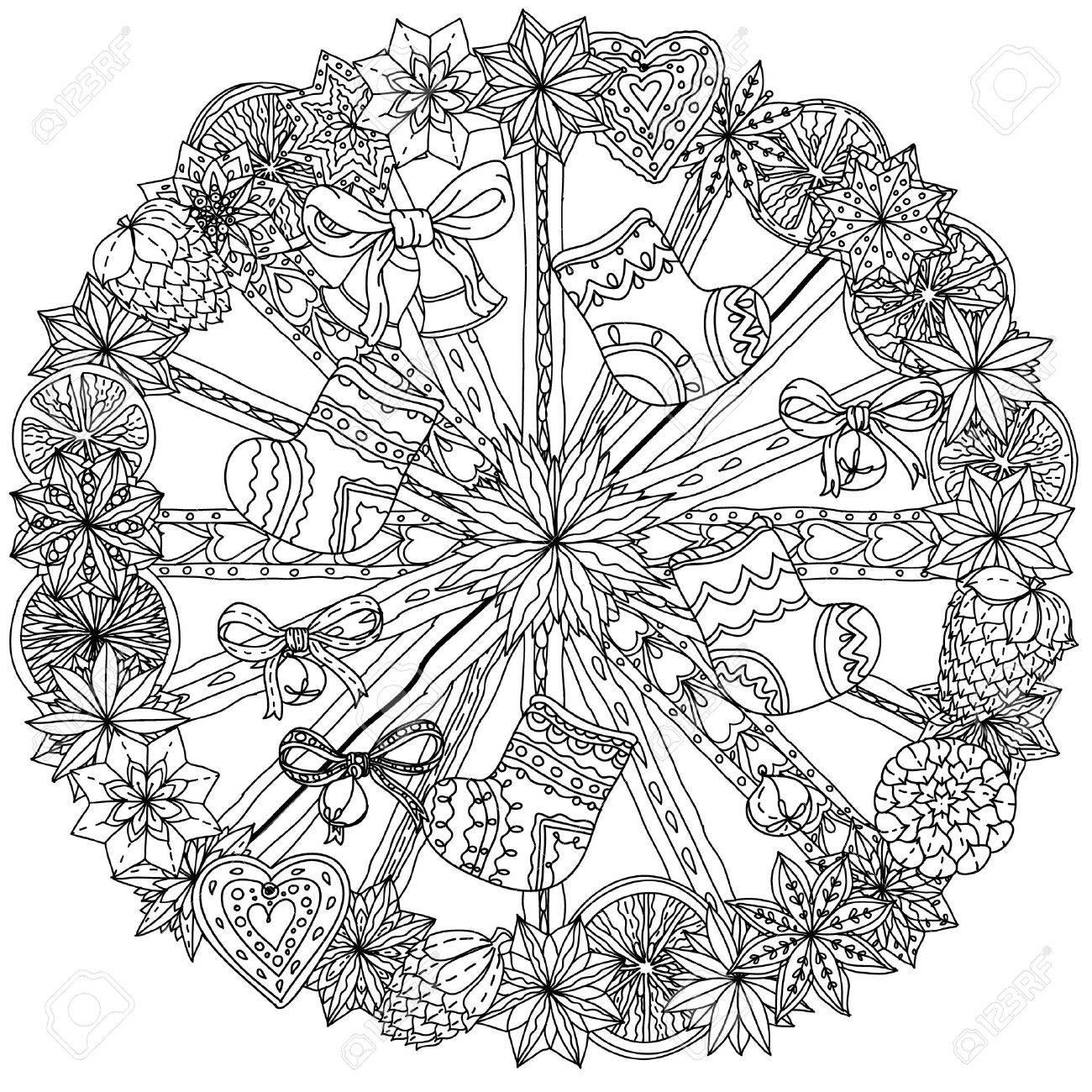 Corona De Navidad Con Elementos Decorativos, Y Negro Blanco. El ...