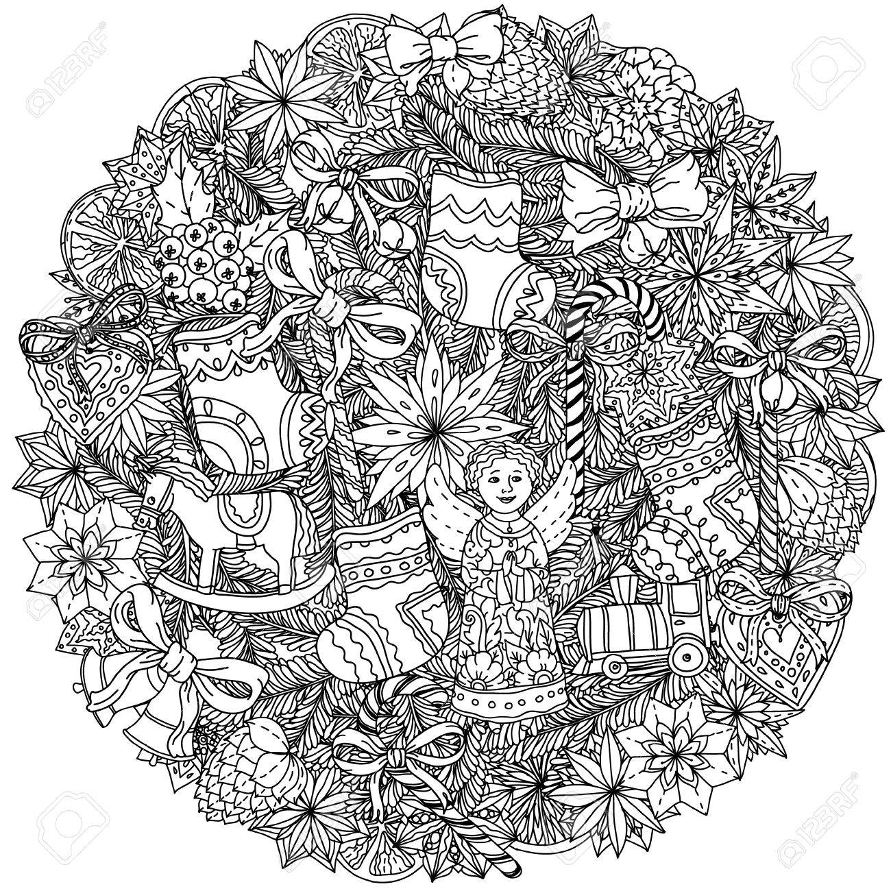 装飾的な項目黒と白のクリスマス リースあなたのデザイン