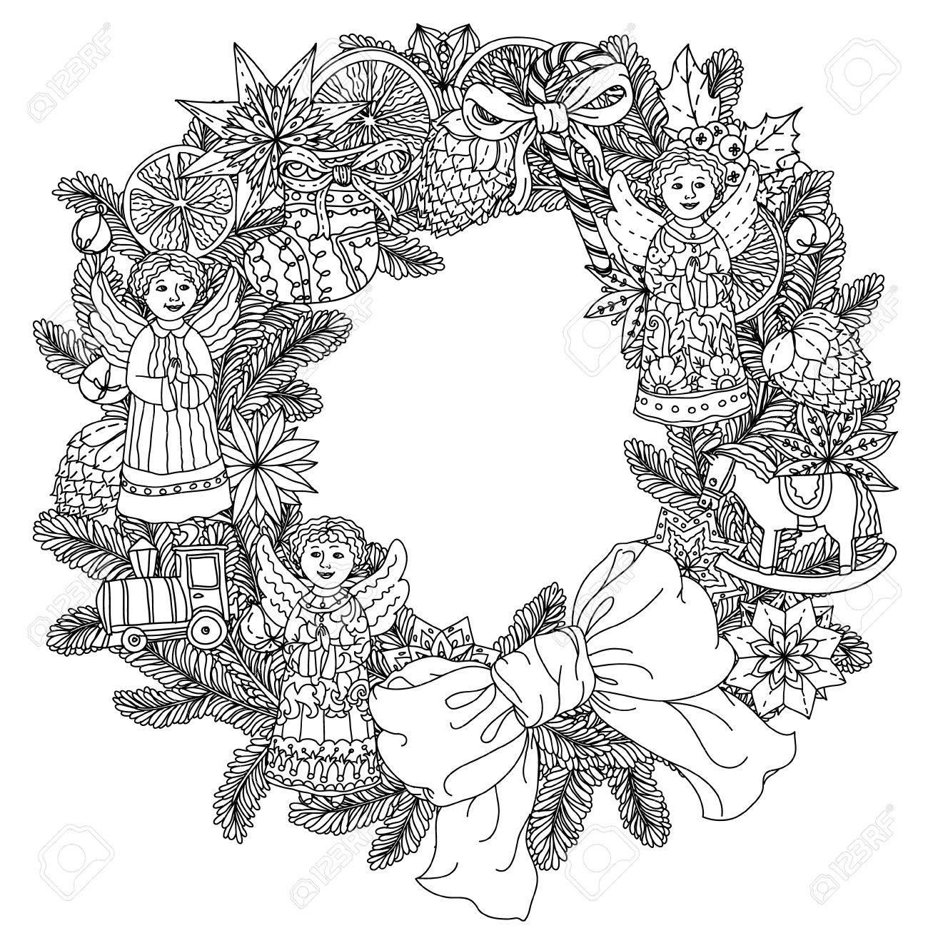 装飾的な項目黒と白のクリスマス リース あなたのデザイン