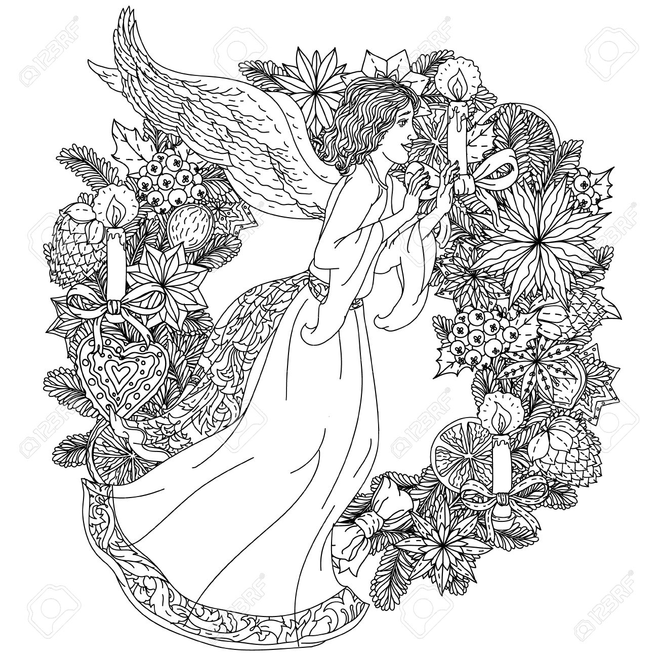 Angel On Christmas Wreath With Decorative Items Black And White Zentangle Patters The