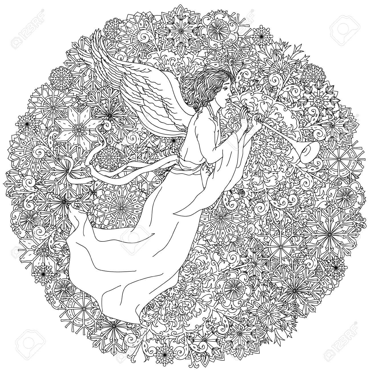 angel on christmas ornament of snowflakes black and white