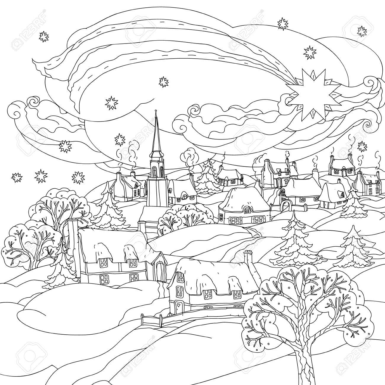 étoile de No l survole village d hiver en noir et blanc Bagouts Zentangle