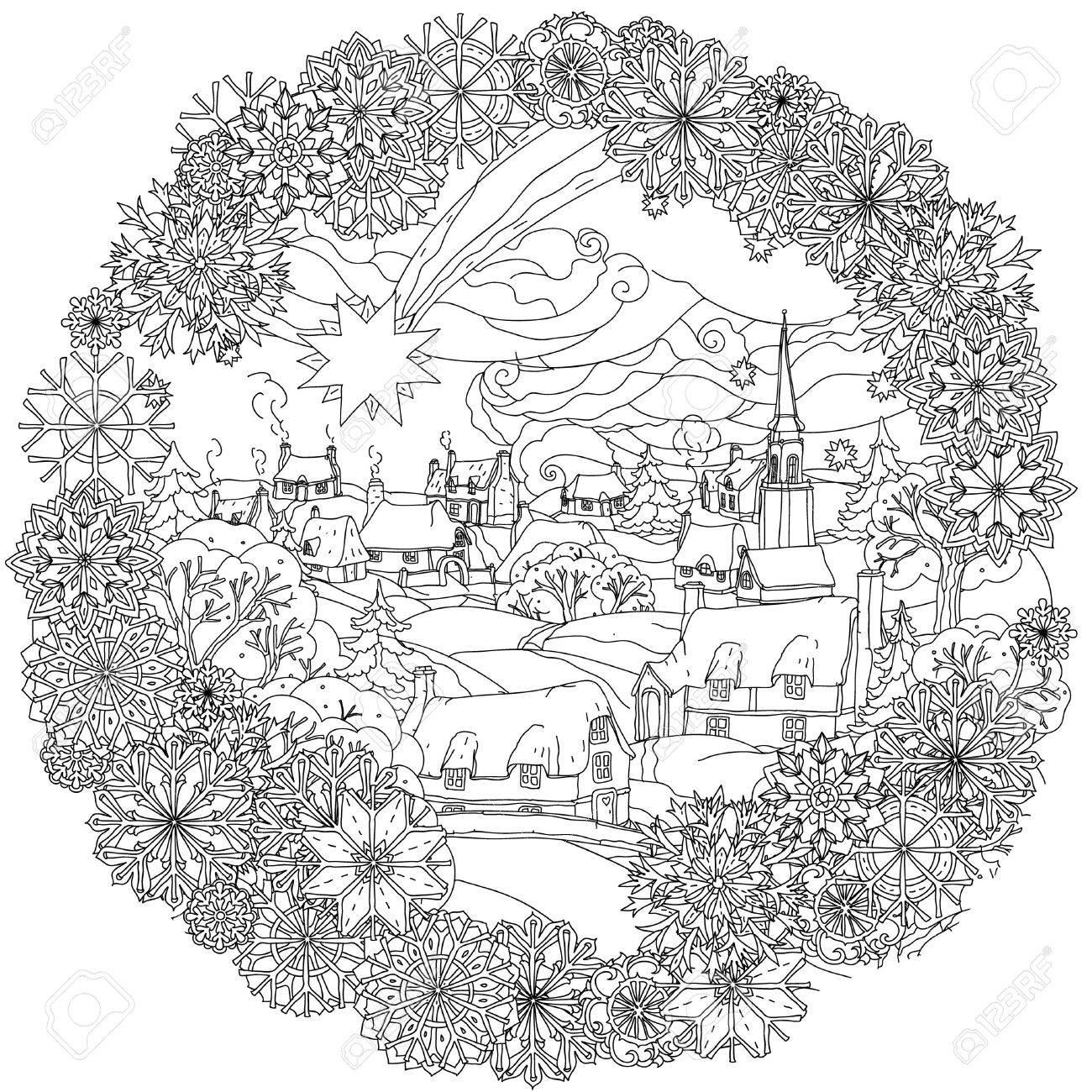 Landskape De Noel Avec L Etoile Survole Village D Hiver Dans Le Cadre Des Flocons De Neige Noir Et Blanc Bagouts Zentangle Le Meilleur Pour Votre Conception Textiles Affiches Livre De Coloriage Clip Art