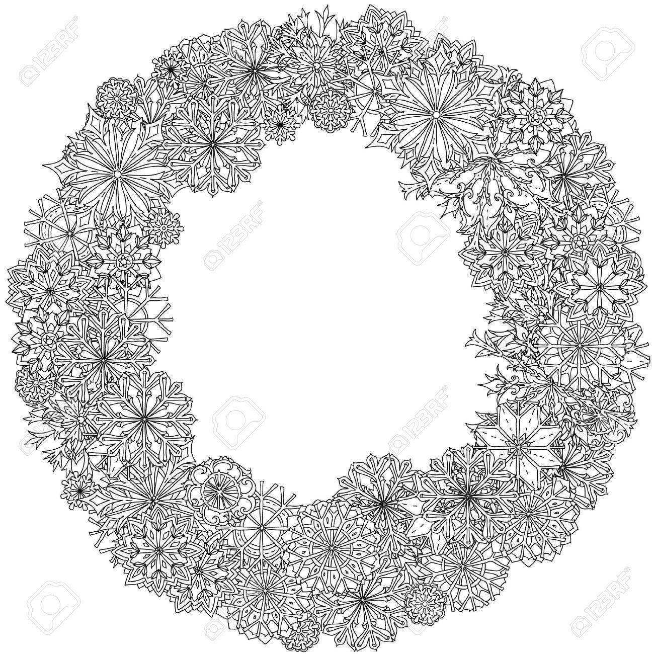 Verzierten Rahmen Der Schneeflocken, Schwarz Und Weiß. Zentangle ...