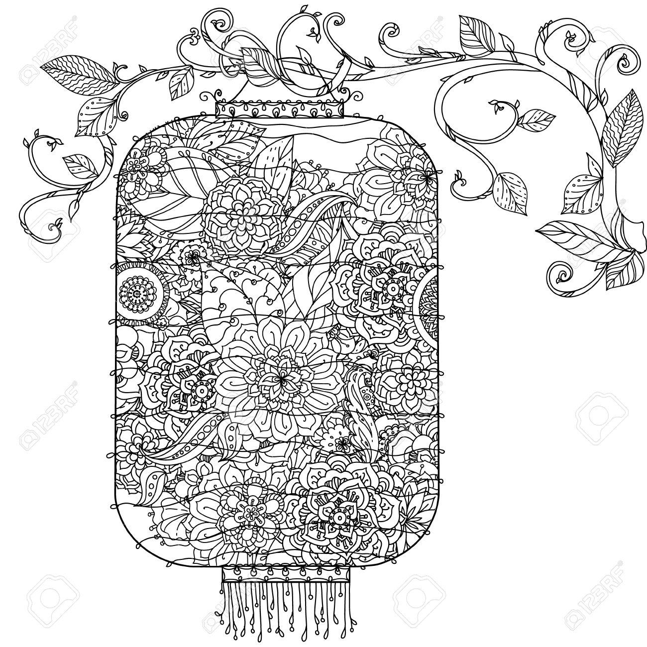 Dibujo Linterna De Mano Chino. Flores De árboles Y Pájaros. En