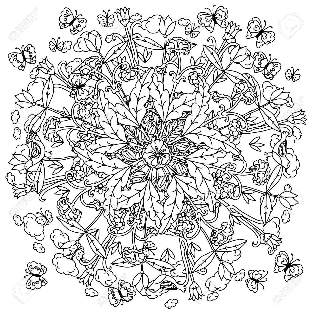 Amazing Flowers And Butterflies Garden Plants Vector Hand Drawn Art Mandala Concept