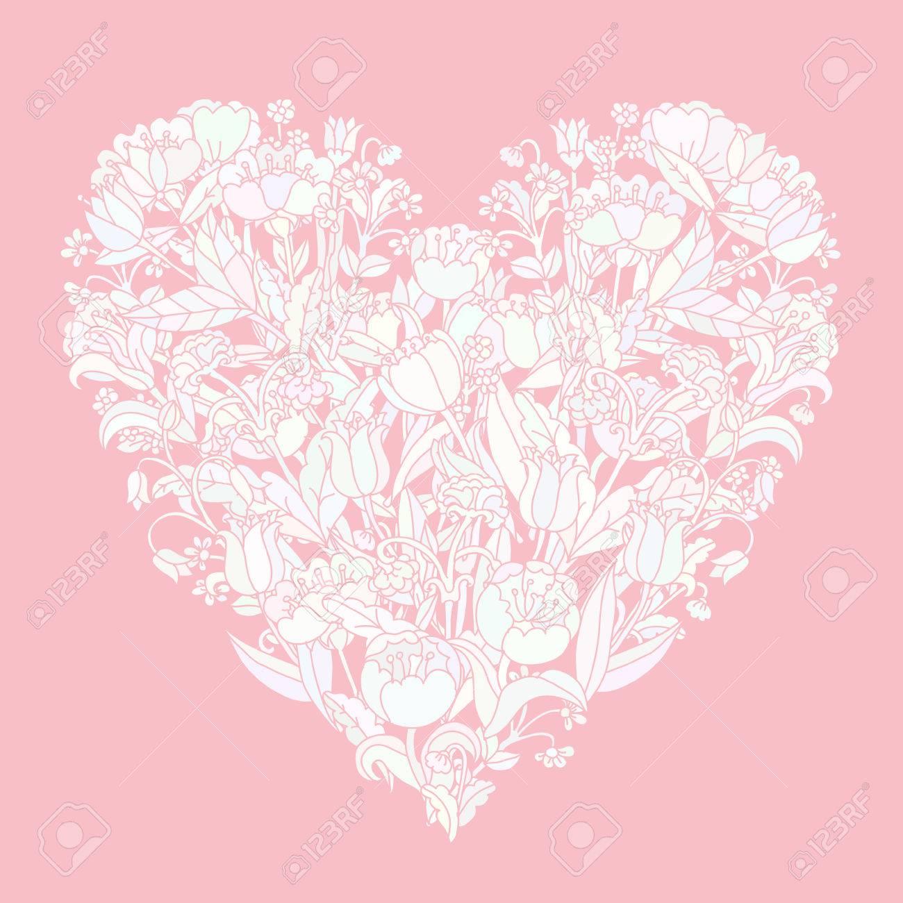 Corazón Floral En Colores Pastel Como Ramo De Lujo Con Flores Del ...