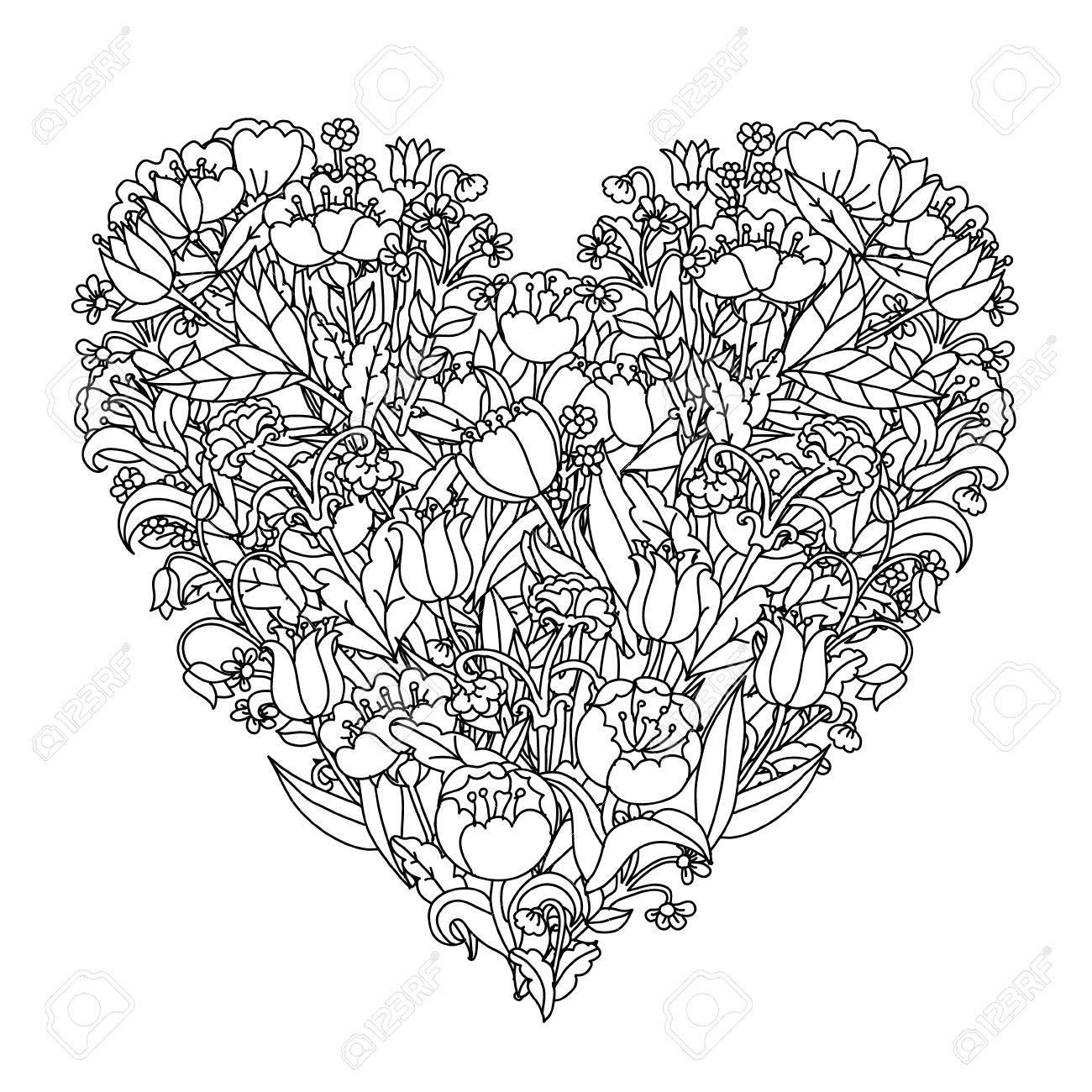 Main Element De Dessin Noir Et Blanc Fleur Style Mandala Vector