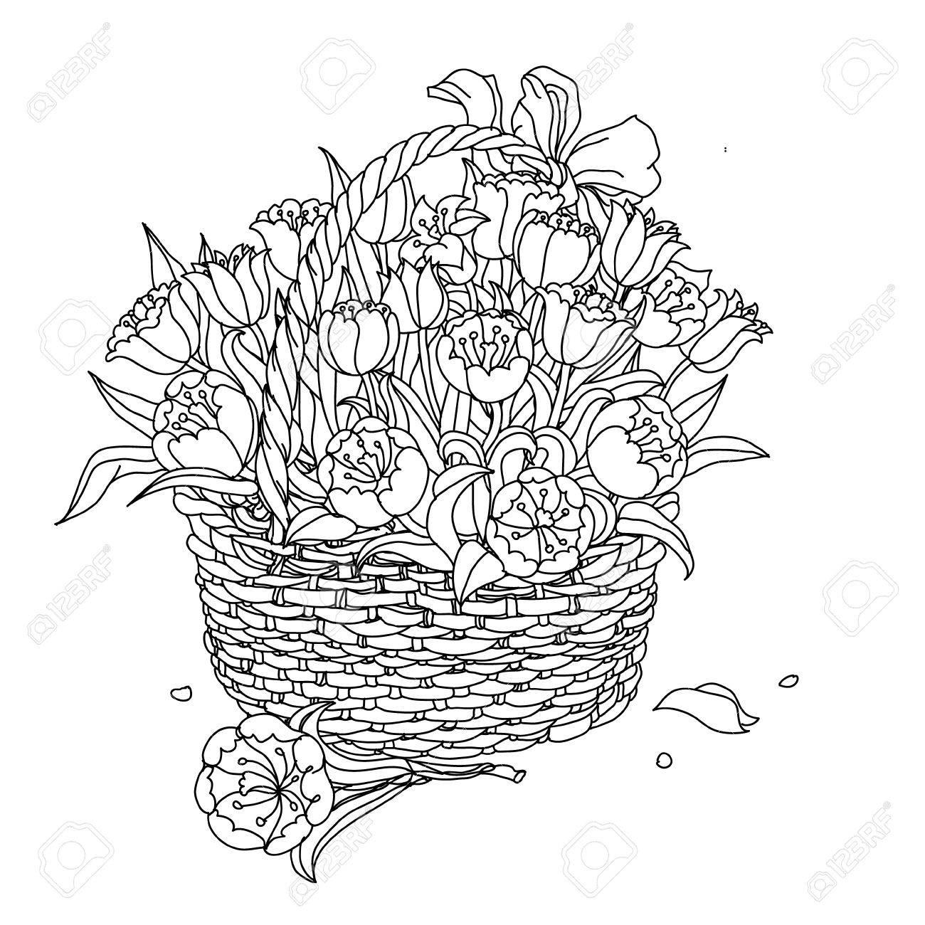 Lément De Dessin De La Main Noir Et Blanc Fleurs Dans Un Panier Illustration Vectorielle Le Meilleur Pour Votre Design Textiles Affiches
