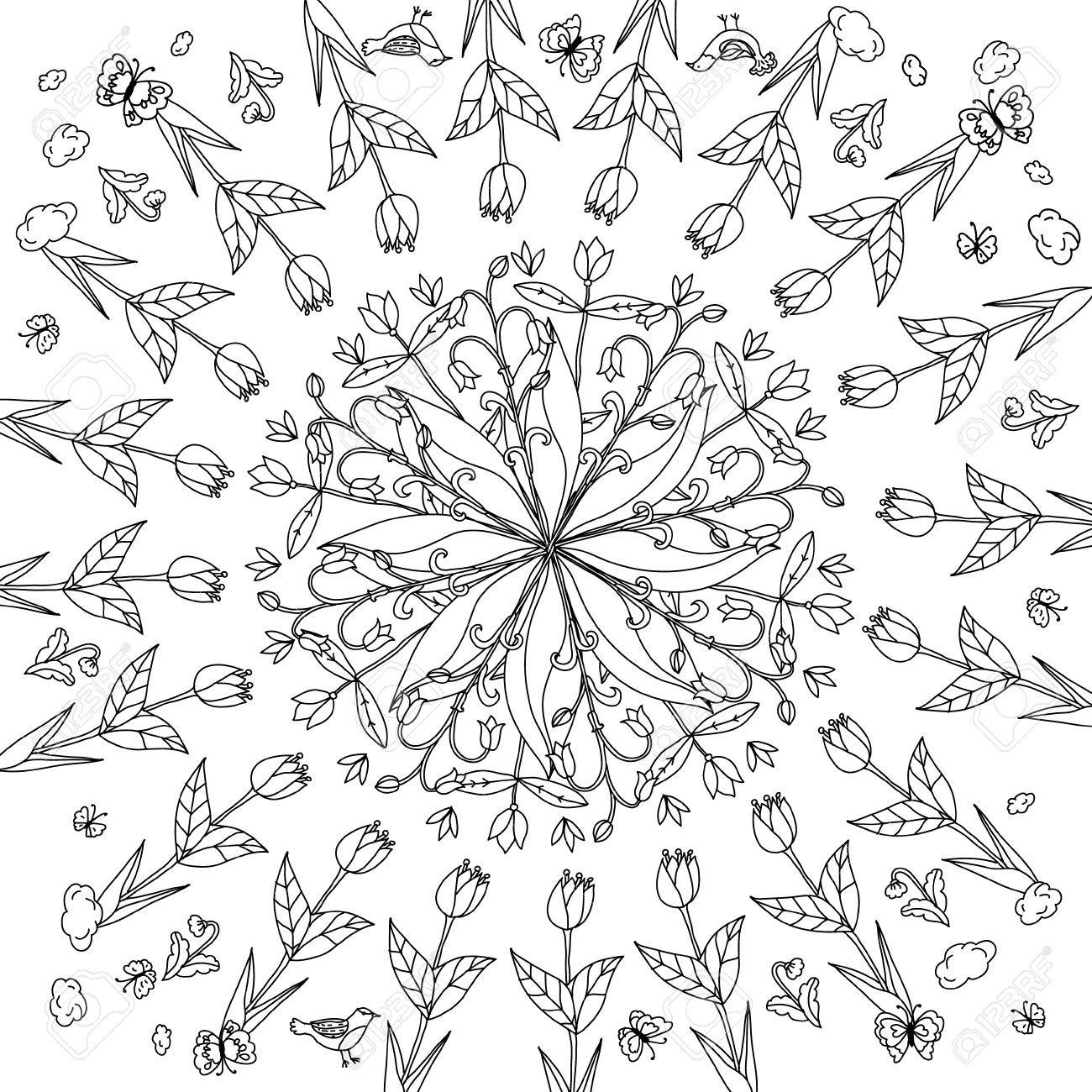 Hand Drawing Element Black And White Flower Mandala Style