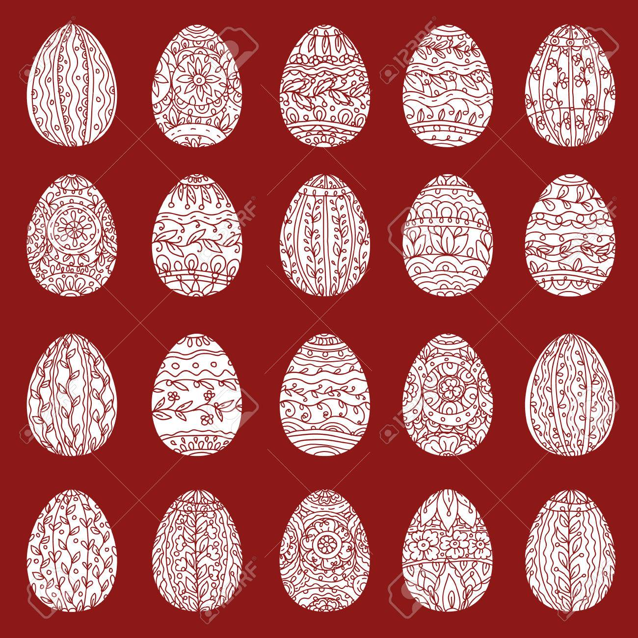 Easter Eggs In Adult Coloring Book Style. Black And Red ...
