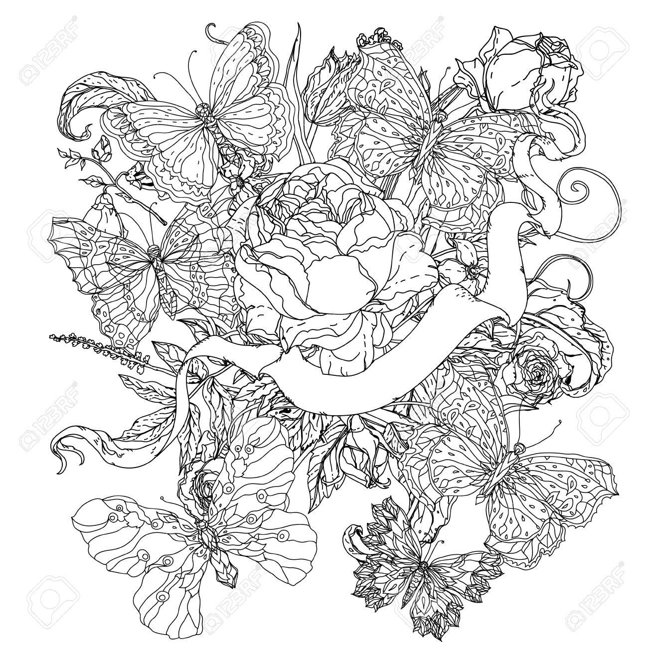 Uncolored Flowers And Ribbon For Text Adult Coloring Book Famous Zenart Style Hand
