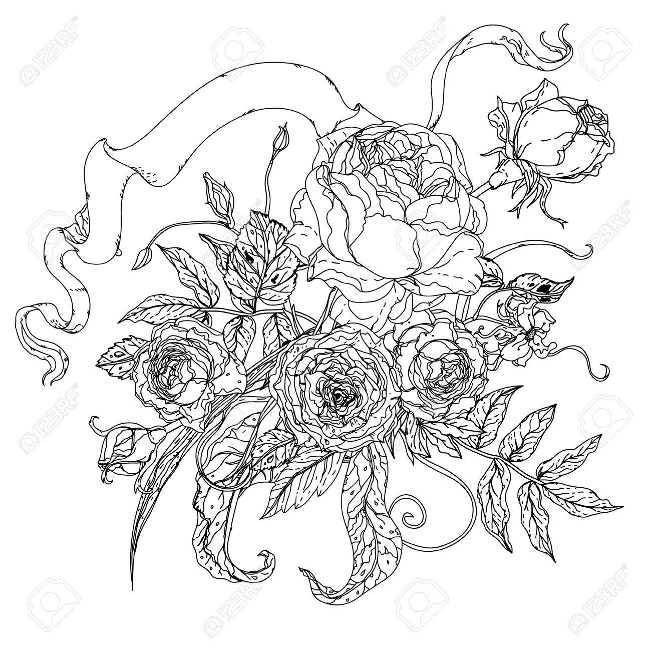 Zen coloring flowers - Adult Coloring Pictures Of Flowers Uncolored Flowers And Ribbon For Text Adult Coloring Book Famous