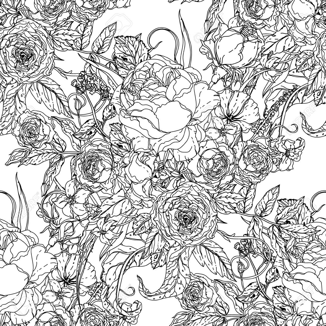 Estilo De Libro Para Adultos Modelo Inconsútil De Las Rosas Para Colorear Para Colorear Para Adultos En Estilo Zenart Famosa Dibujado A Mano Retro