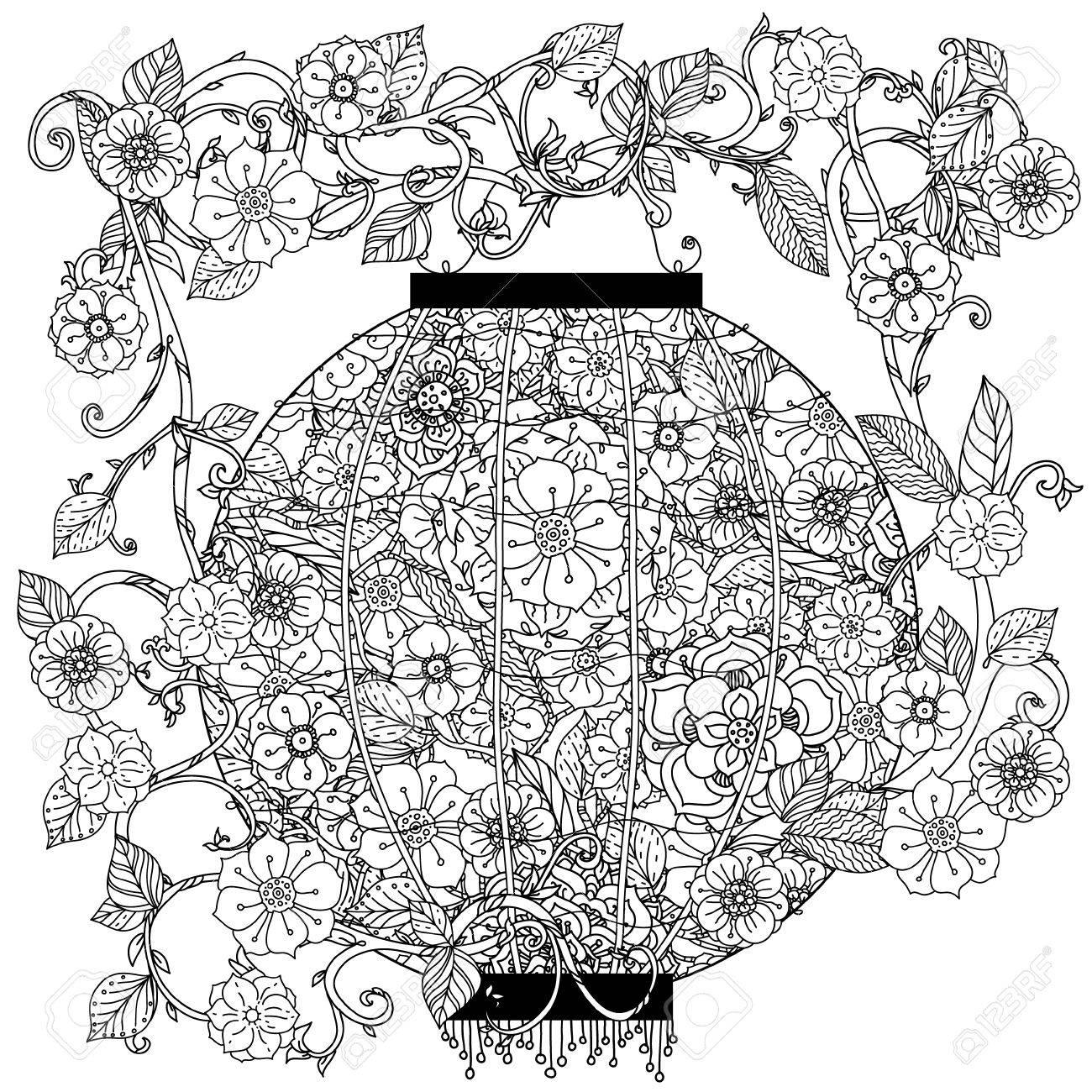 Coloriage Adulte Blanc.Lanterne Oriental Decore Par Des Motifs Floraux Pour Livre De
