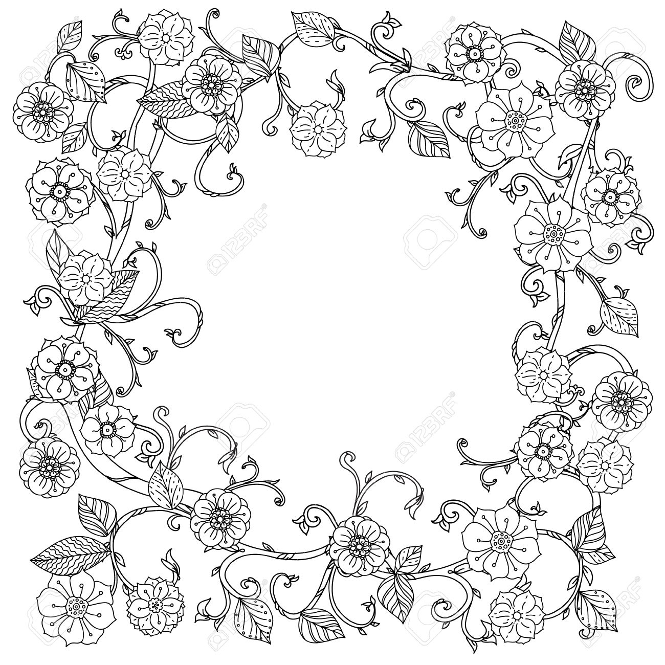 Coloriage Cadre Fleur.Incolore Noir Et Fleurs Blanches Cadre Pour Adultes Livre De