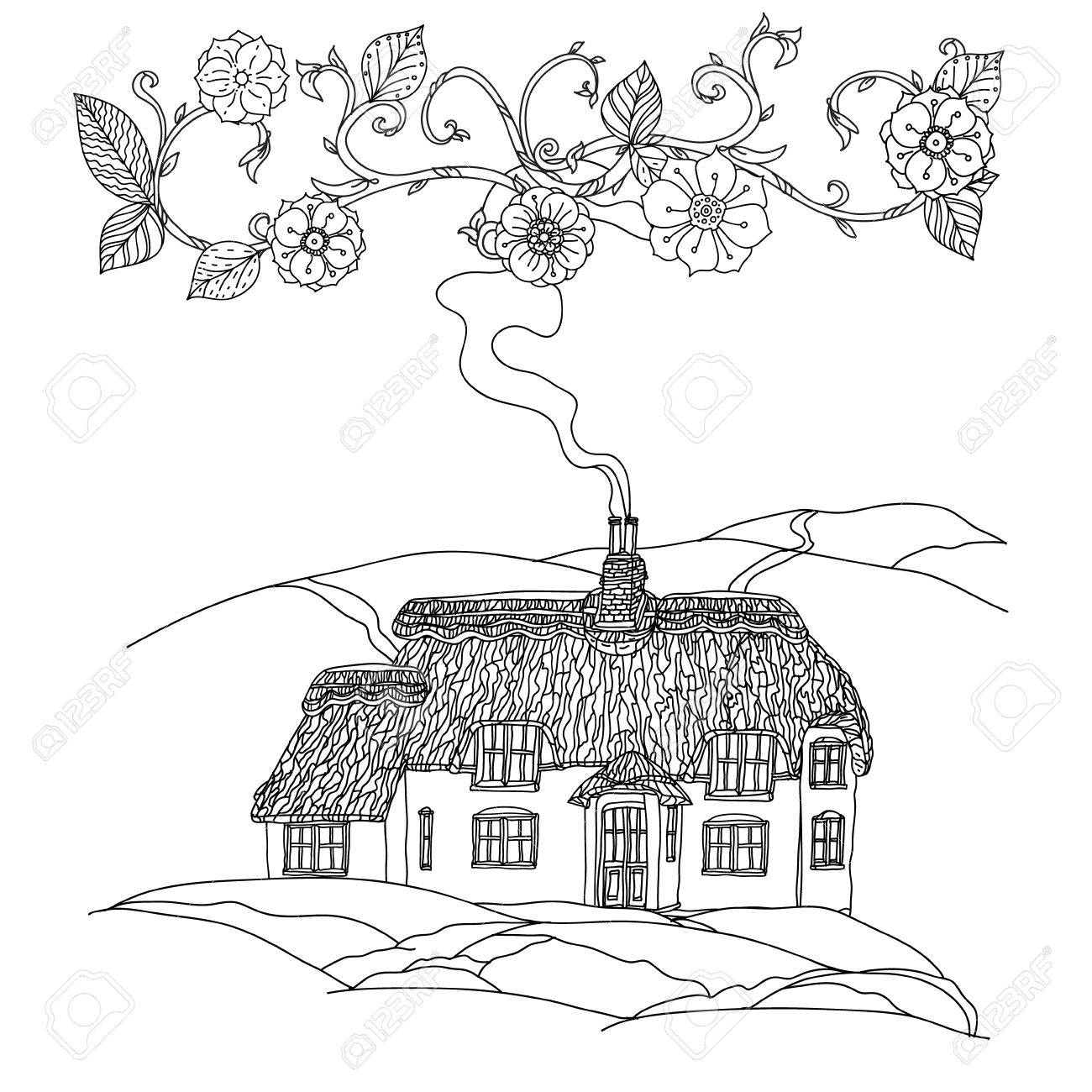 Black And White Flowers Victorian House For Adult Coloring Book Zenart Style