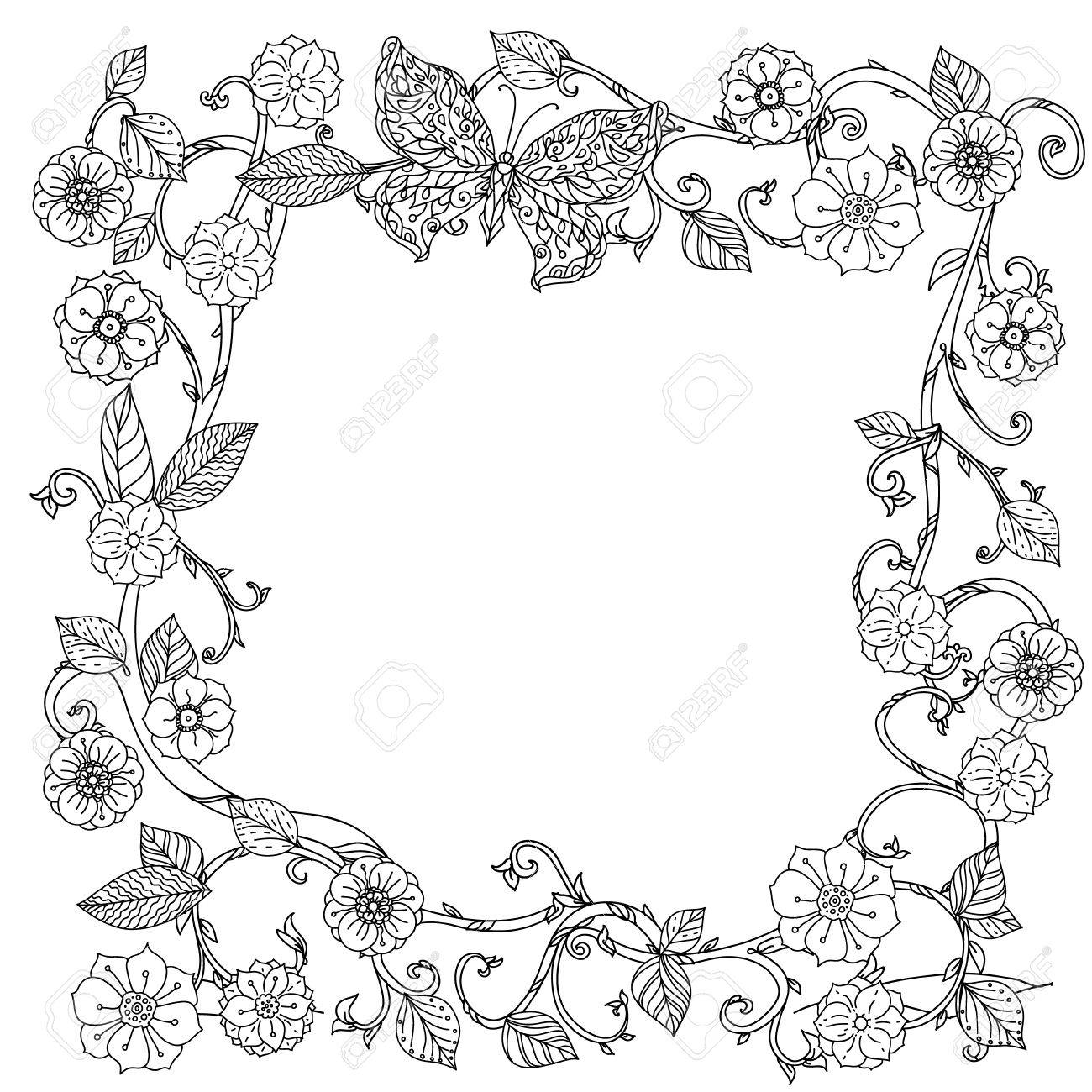 Uncoloured Black And White Flowers Frame For Adult Coloring Book