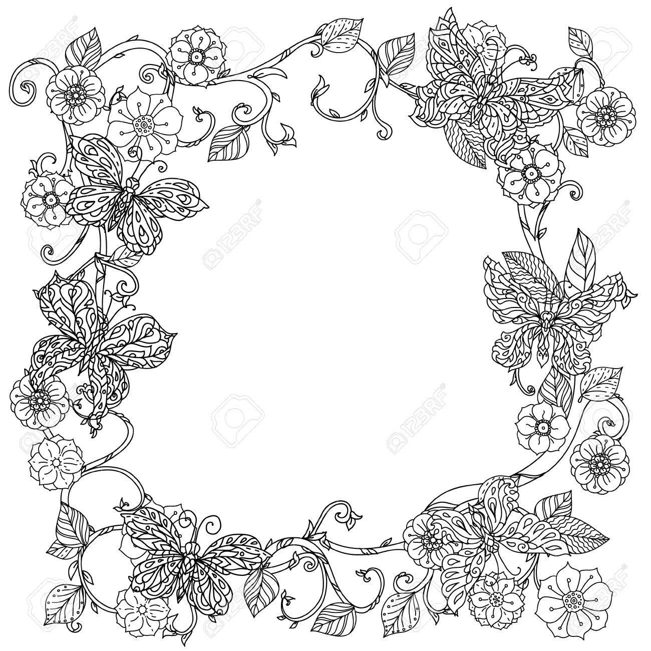 Coloriage Cadre Fleur.Fleurs De Cadre Incolore Et Papillon Pour Adultes Livre De Coloriage
