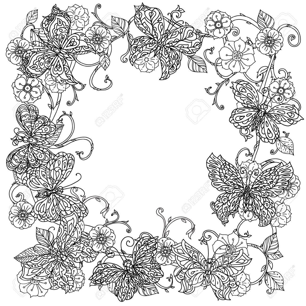 Coloriage Cadre Fleur.Fleurs Sans Cadre Et Papillon Pour Livre De Coloriage Adulte Dans Le
