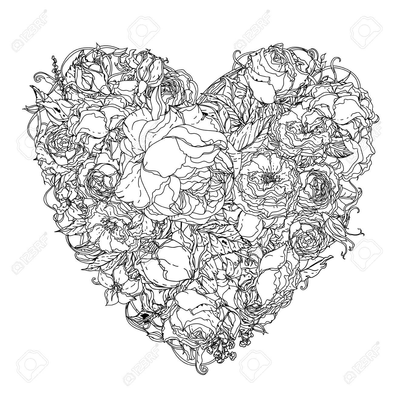 Coloriage Coeur Mariage.Artistiques Roses Non Colorees Livre De Coloriage Syle De Luxe Bouquet En Forme De Coeur Pour Adulte Livre De Coloriage Dans Le Celebre Style Zenart