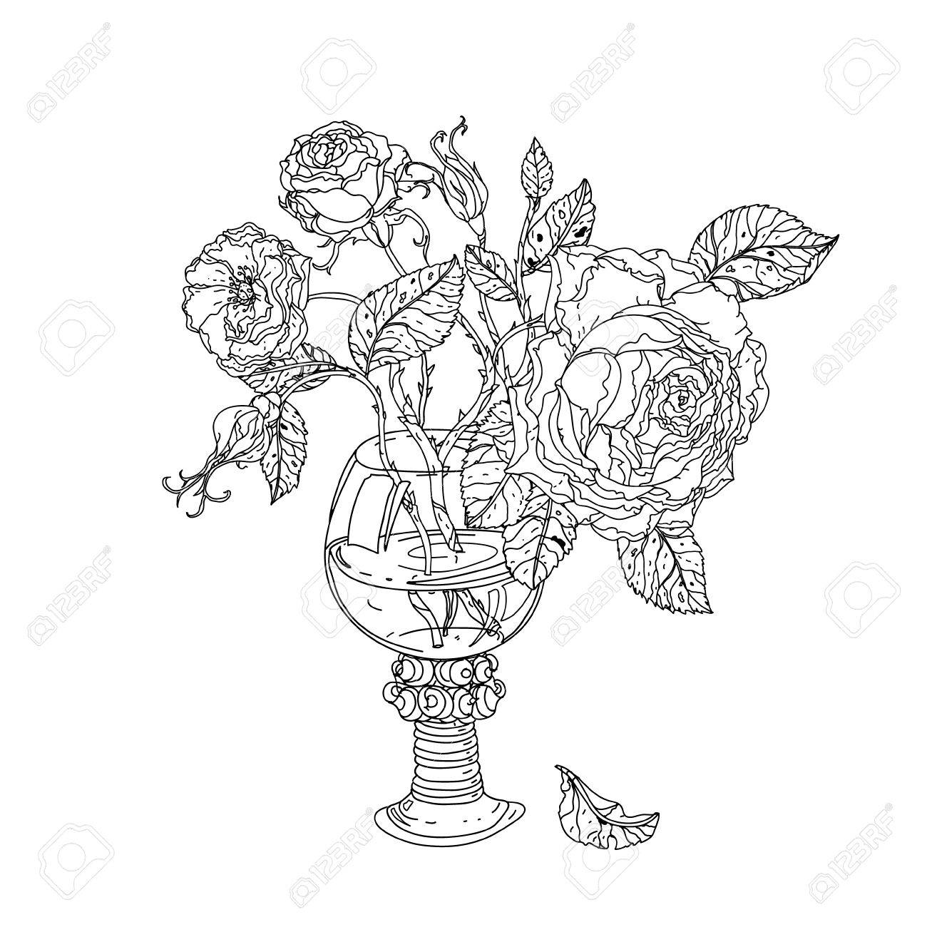 Uncolored Colouring Book Style, Roses In Zenart Style, Could ...