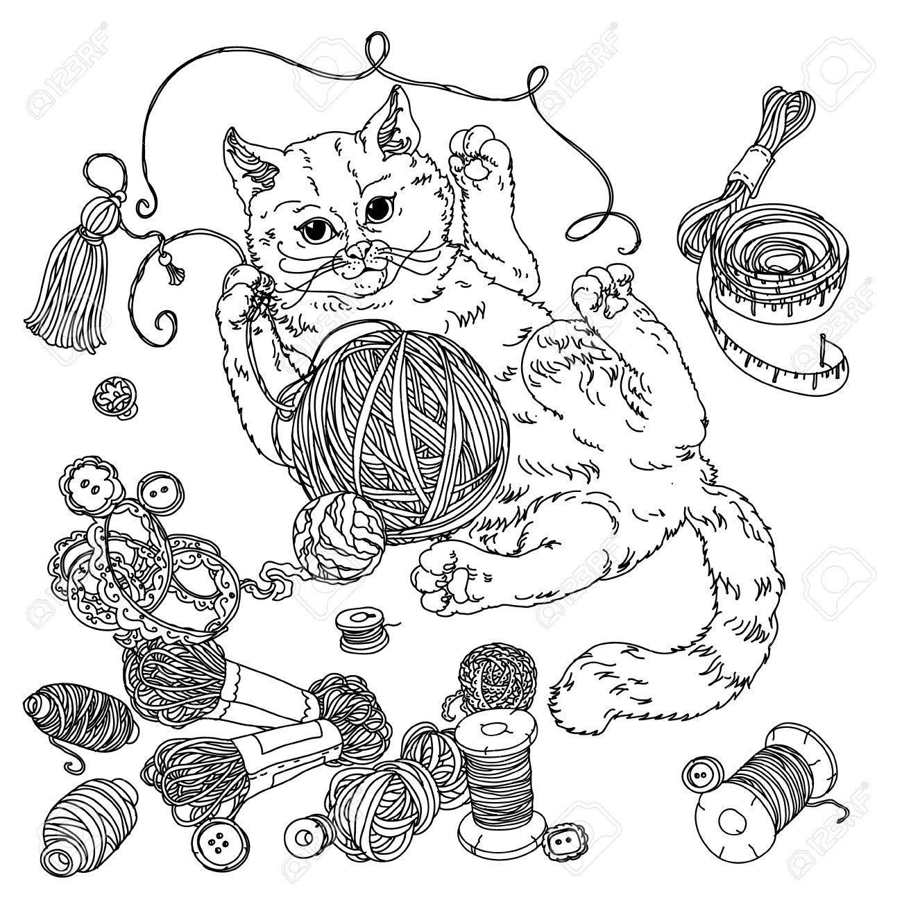 Kitten Playing With A Ball Of Yarn And Needlework Items. Hand-drawn ...