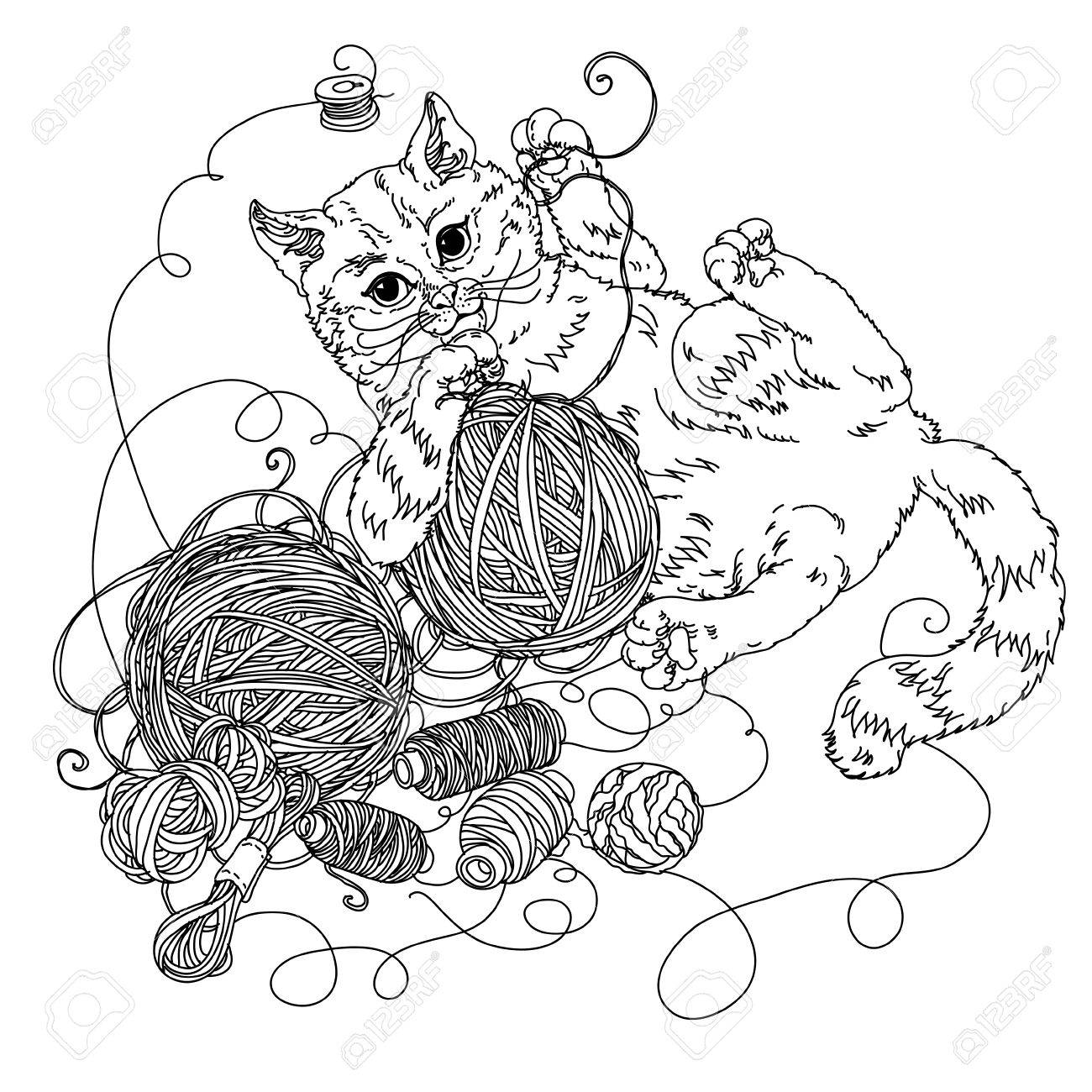 uncolored kitten playing with needlework of yarn and Needlework..
