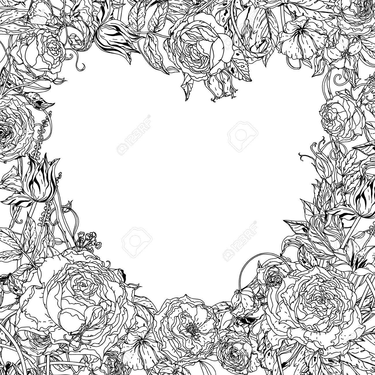 Estructura En Forma De Corazón Sin Color De Rosas En El Estilo ...