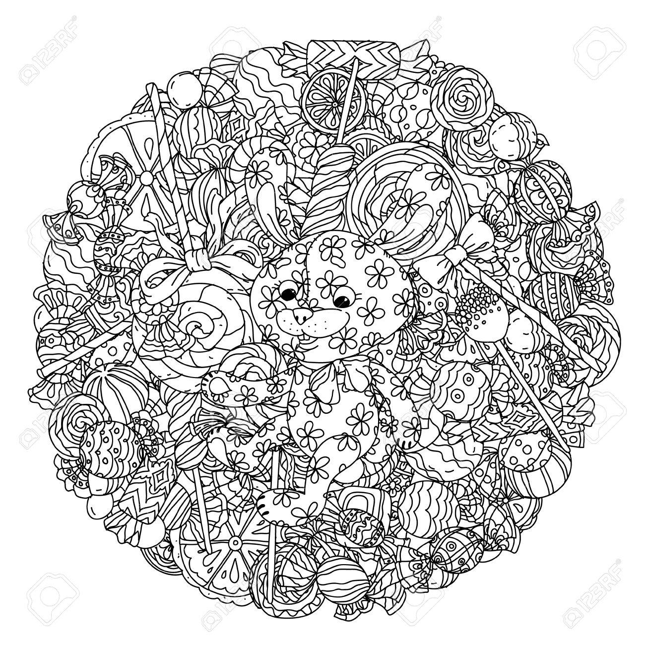 Uncolored Toy And Sweets In Coloring Book Style Hand Drawn Doodle Vector