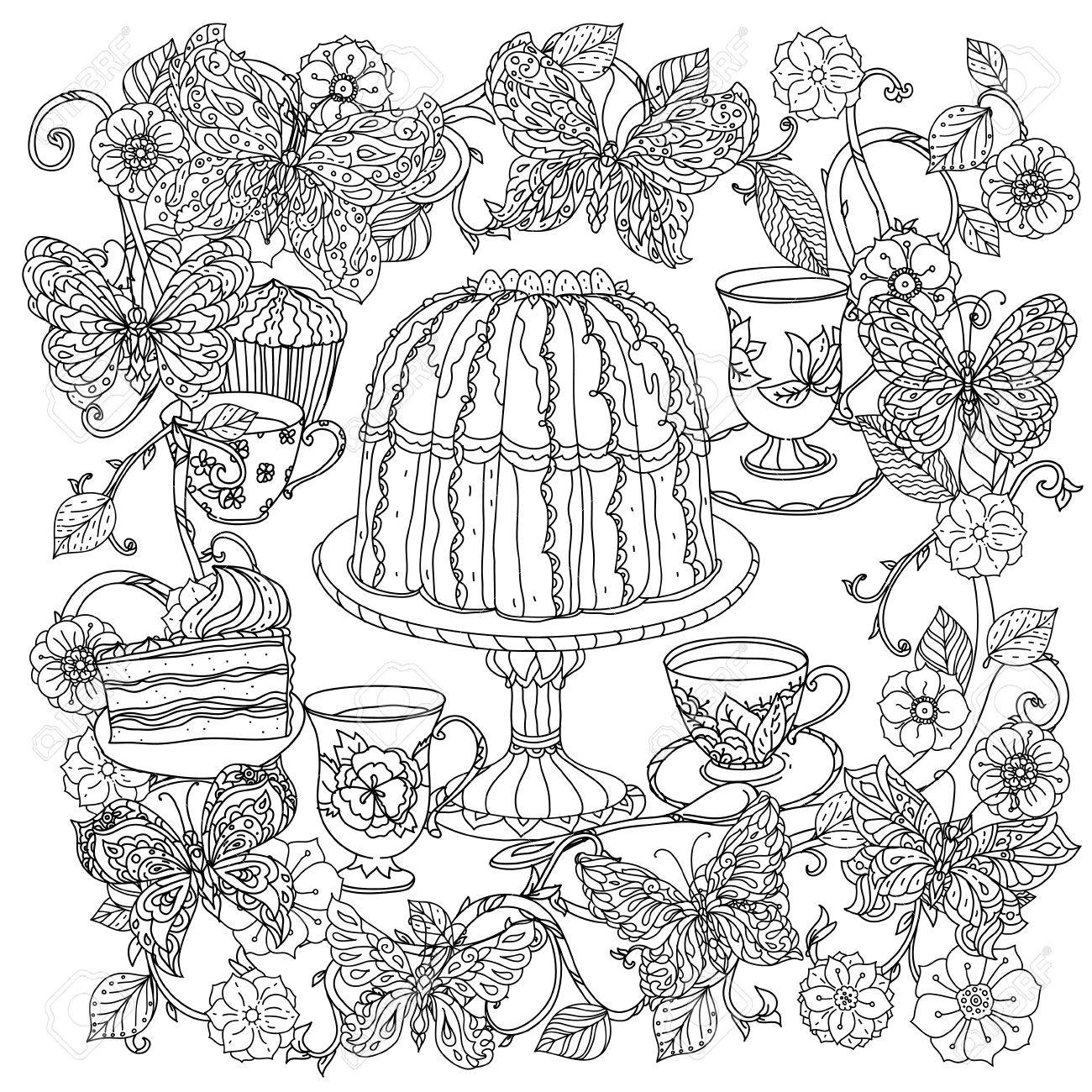 Anti stress coloring therapy - Uncoloured Sweets And Butterfly For Adult Coloring Book In Famous Zenart Art Therapy Antistress Style