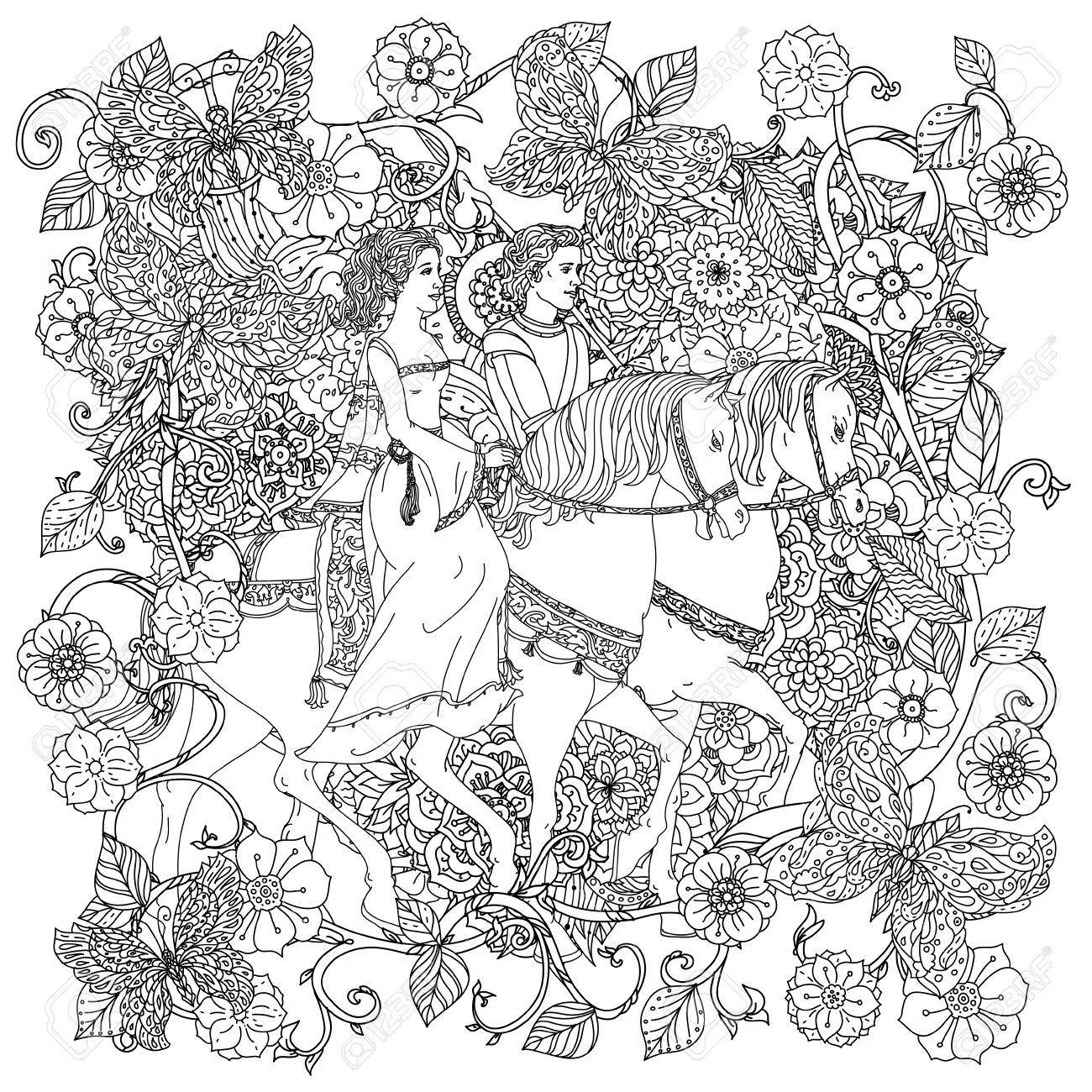 Sin Colorear Príncipe Princesa Y Mariposas Para Colorear De Adultos En El Famoso Estilo Art Terapia Antiestrés Zenart Dibujado A Mano Retro