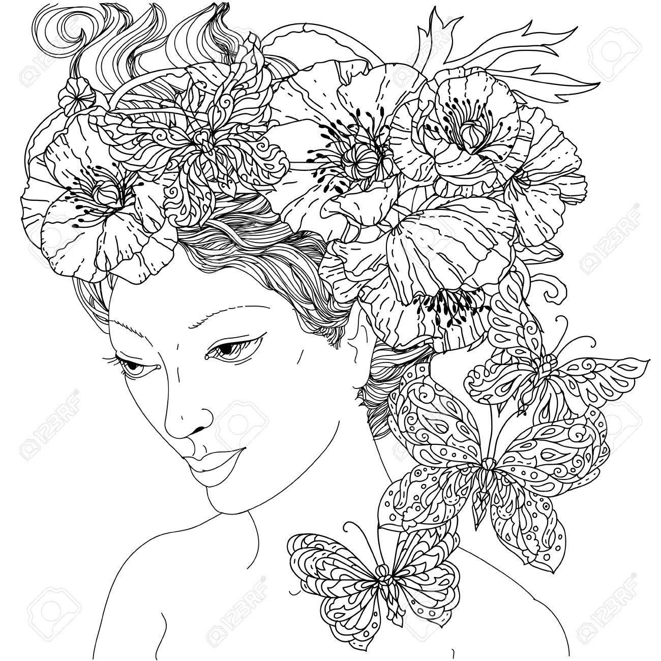 Mujer Sin Colorear Y Mariposa Para Colorear De Adultos En El Famoso ...