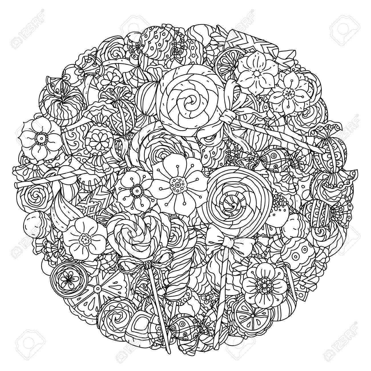 Uncoloured Sweets And Butterfly For Adult Coloring Book In Famous ...