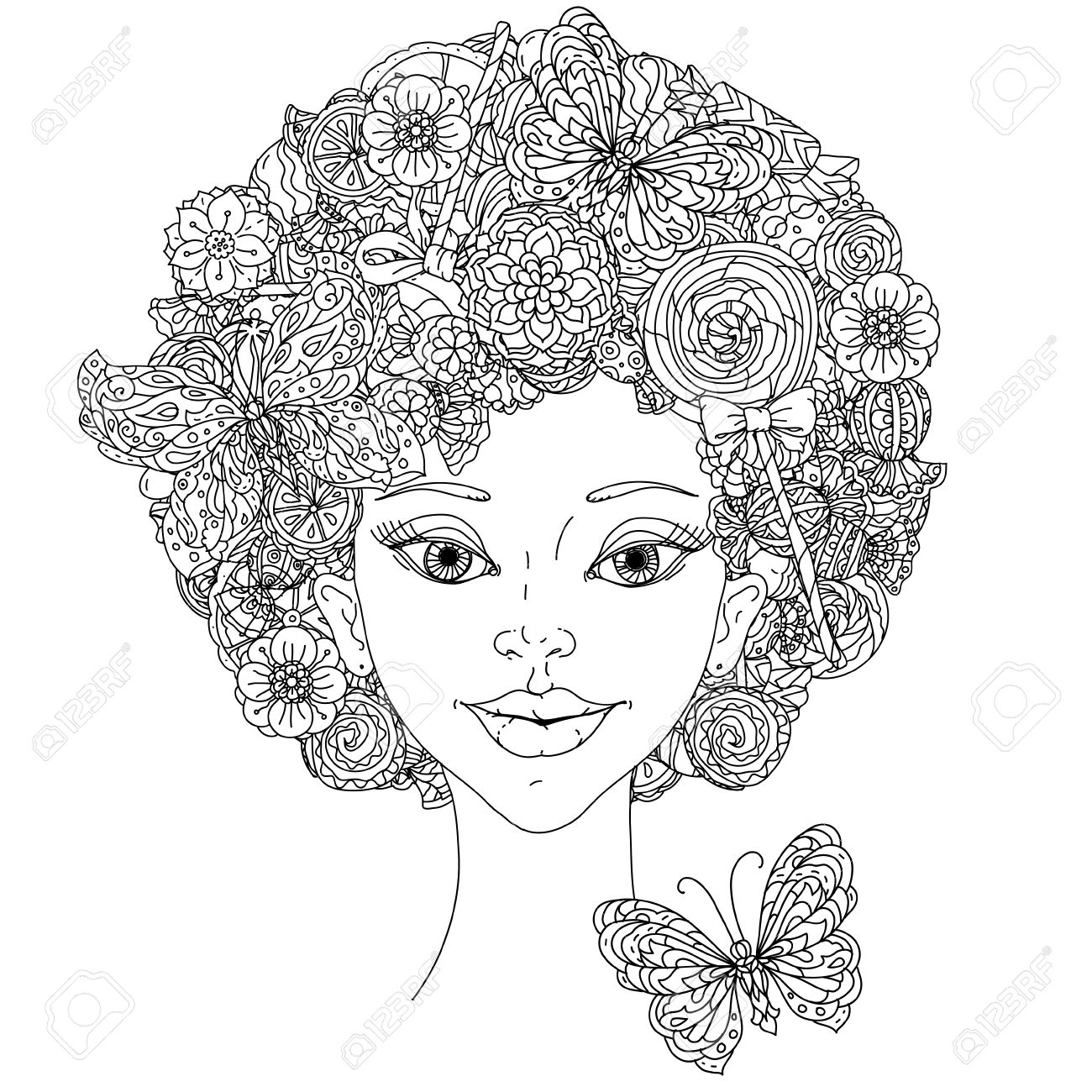 Uncoloured Woman And Butterfly For Adult Coloring Book In Famous Zenart Art Therapy Antistress Style