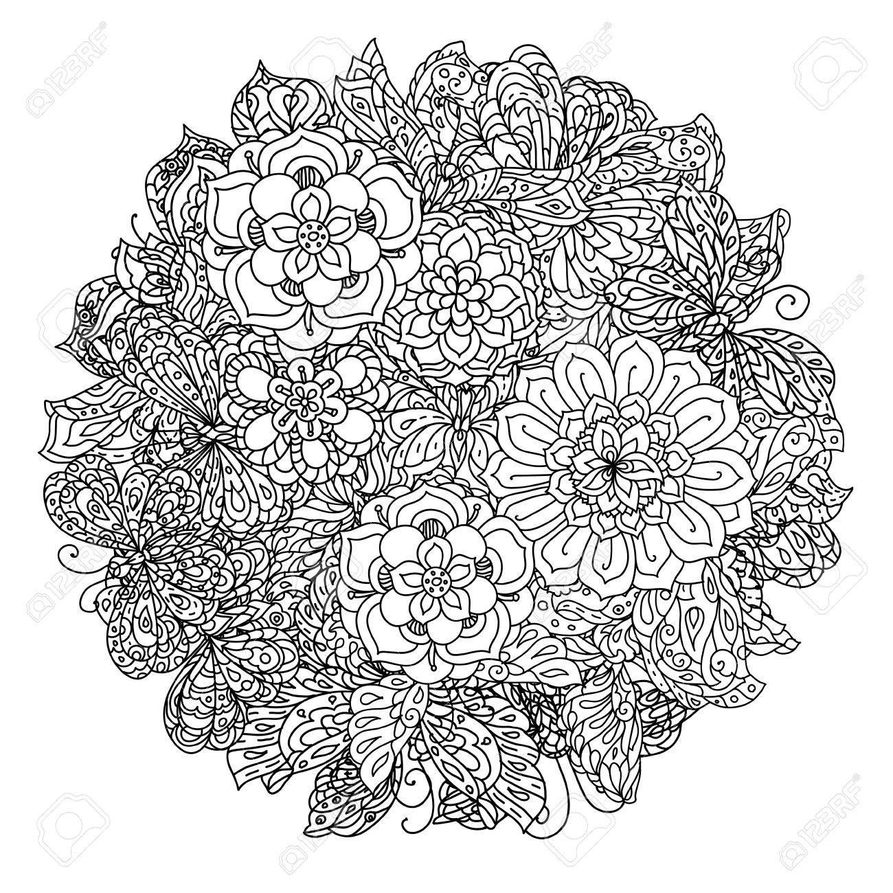 Sin Colorear Flores Y Mariposas Para Colorear De Adultos En El ...