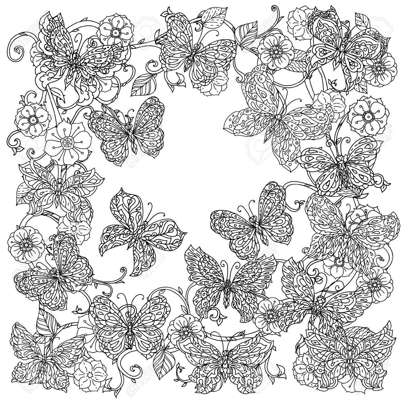 Sin Colorear Flores Y Mariposas Para Colorear De Adultos En El