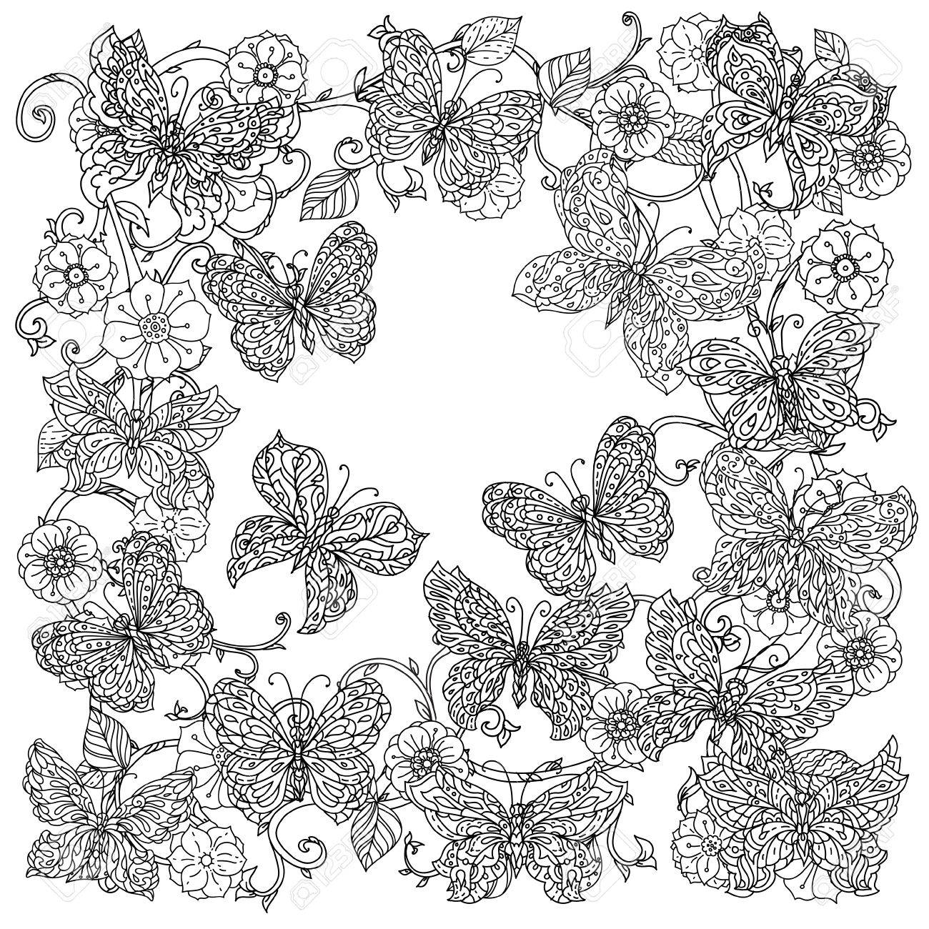 Uncoloured Flowers And Butterfly For Adult Coloring Book In Famous ...
