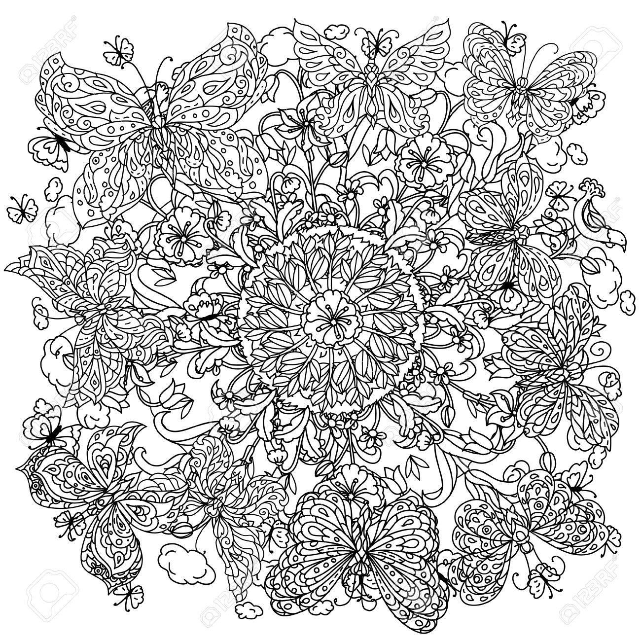 Uncoloured Flowers And Butterfly For Adult Coloring Book In Famous Zenart Art Therapy Antistress Style