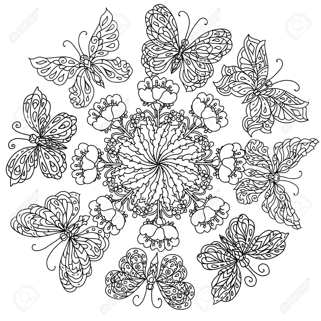Fleurs De Forme Mandala Et Papillon Pour Adultes Livre De Coloriage Dans Le Zen Style Art Therapie Anti Dessin Stress Hand Drawn Retro Griffonnage Vecteur Style Mandala Pour Le Livre De Coloriage Ou De