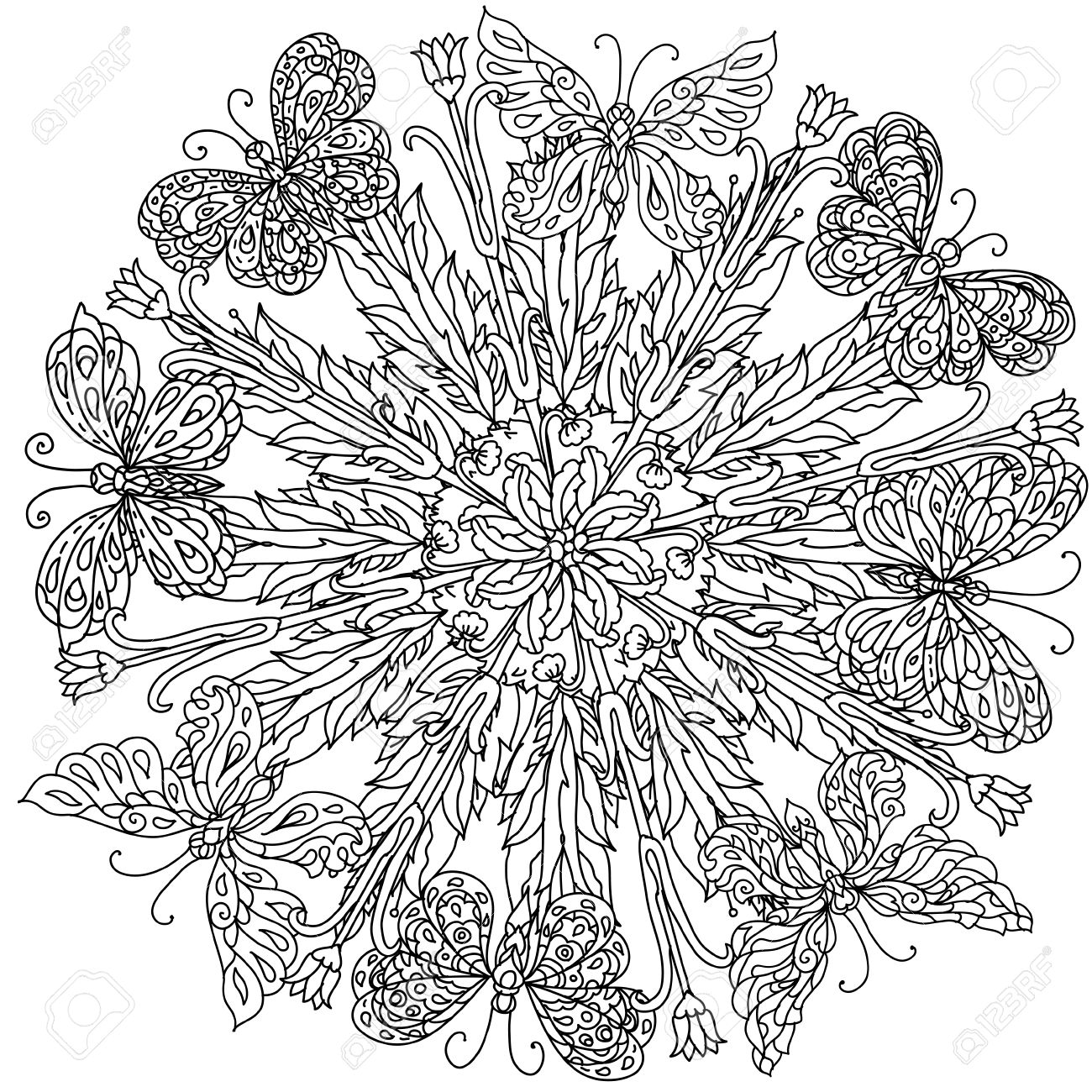 Mandala Shape Flowers And Butterfly For Adult Coloring Book In