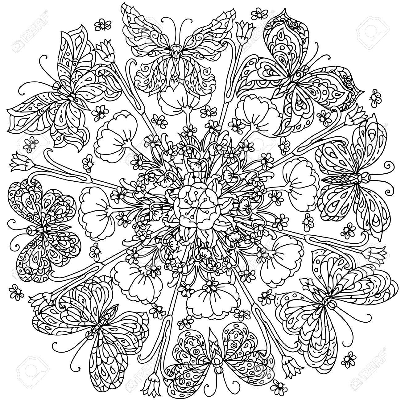 Mandala Shape Flowers And Butterfly For Adult Coloring Book In Zen Art Therapy Style Anti