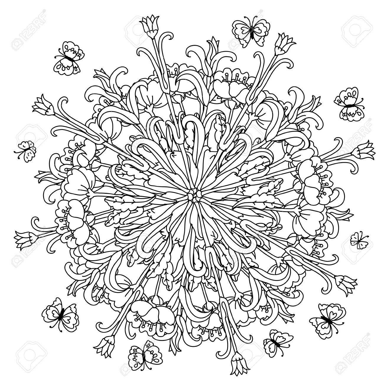 Fleurs De Forme Mandala Et Papillon Pour Adultes Livre De Coloriage