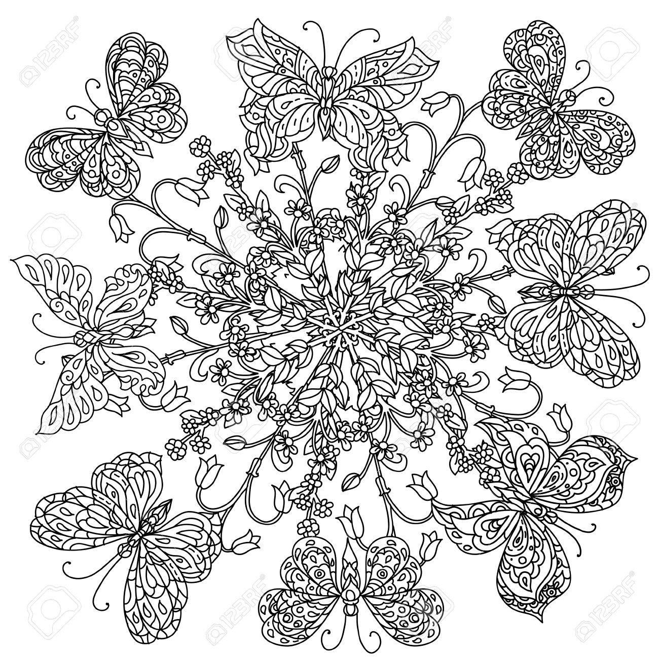 Coloriage Fleur Zen.Fleurs De Forme Mandala Et Papillon Pour Adultes Livre De Coloriage