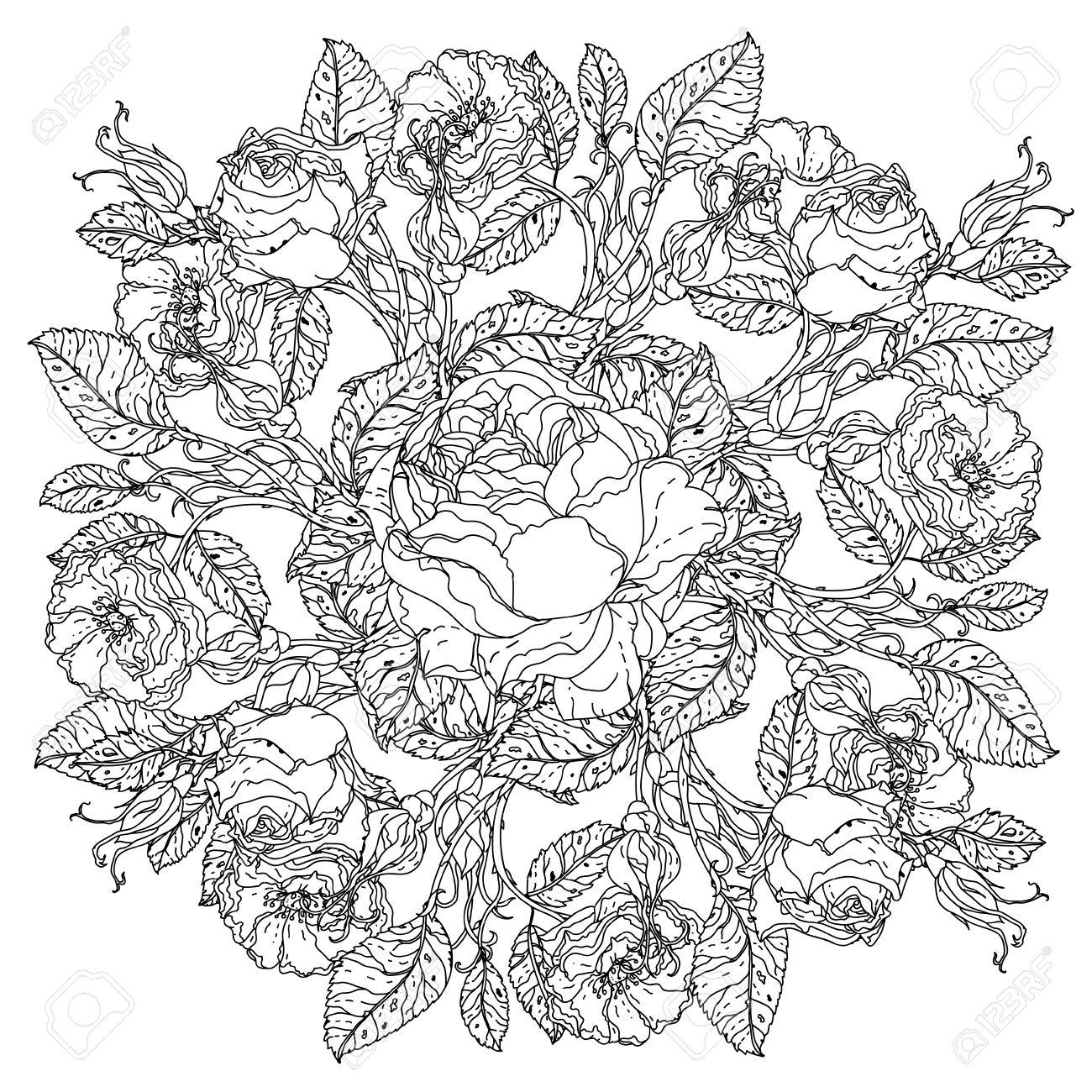 Fleurs En Forme De Mandala Dans Le Vieux Bouquet De Style Maîtres Pour  Livre De Coloriage Pour Adultes Ou Pour Zen Art Thérapie Anti Dessin Stress.